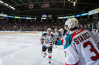 KELOWNA, CANADA - JANUARY 24: Colten Martin #8 of Kelowna Rockets celebrates a goal against the Everett Silvertips on January 24, 2015 at Prospera Place in Kelowna, British Columbia, Canada.  (Photo by Marissa Baecker/Shoot the Breeze)  *** Local Caption *** Colten Martin;