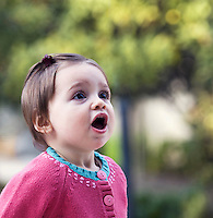 Cyprus baby girl with mouth open