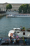 France. Paris. 1st district. Vert galant park on city island . Seine river / Jardin du vert galant a la pointe de l'ile de la cite