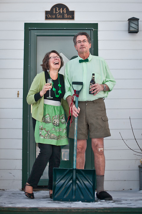 Mark and Susan Lutz on the porch of the Oscar Gill House, Anchorage.