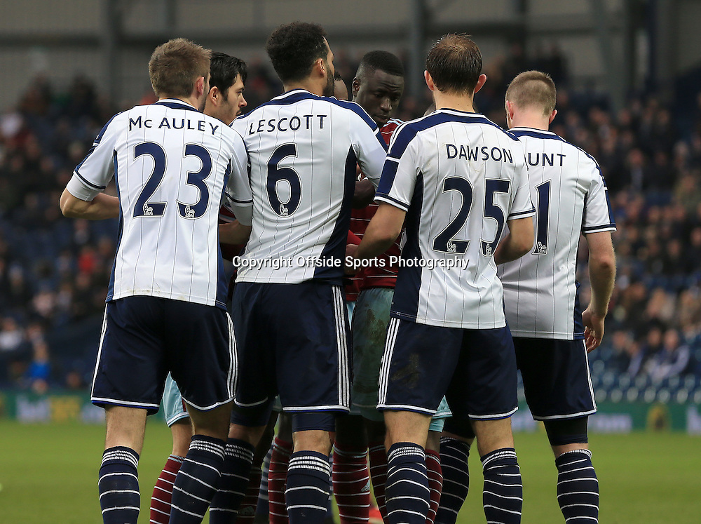14th February 2015 - FA Cup 5th Round - West Bromwich Albion v West Ham United - West Bromwich Albion players adopt a strange set up whilst defending a corner - Photo: Paul Roberts / Offside.