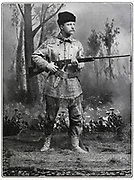 Theodore Roosevelt (1858-1919) 26th President of the USA (1901-9) said to be in dress of lst Volunteer Cavalry (Roosevelt's Rough Riders) a force he raised in 1898 of which he was second in command Spanish-American (Cuban) War .