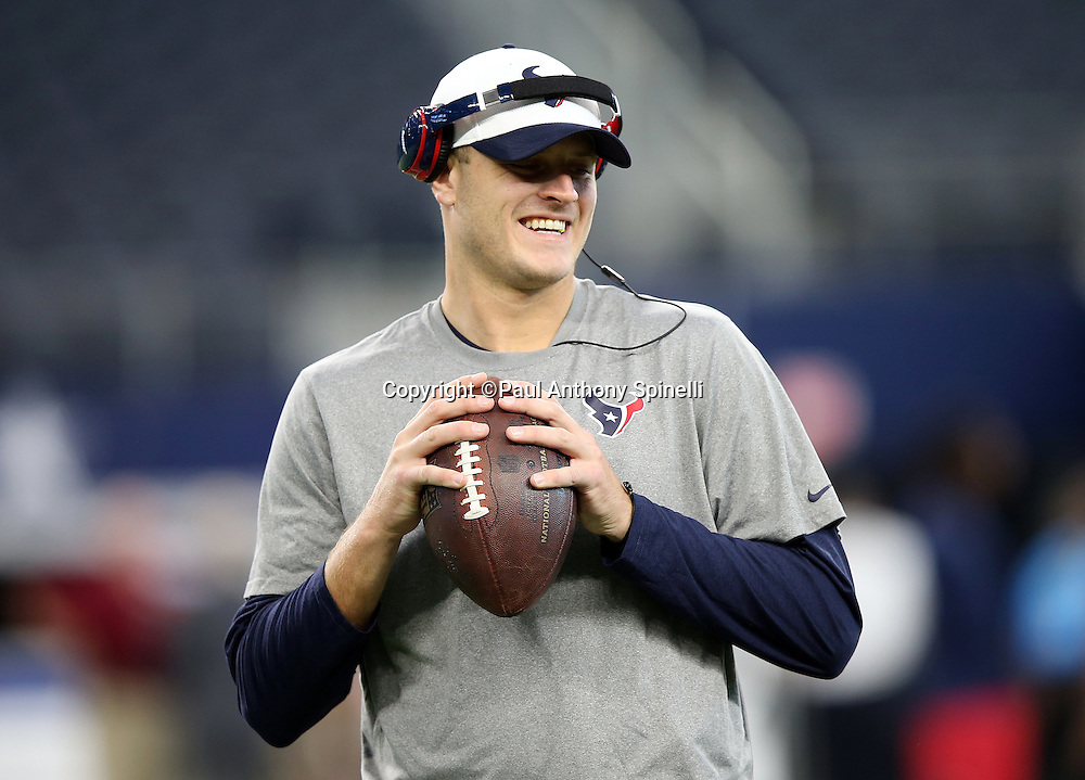 Houston Texans quarterback Ryan Mallett (15) smiles as he warms up before the 2015 NFL preseason football game against the Dallas Cowboys on Thursday, Sept. 3, 2015 in Arlington, Texas. The Cowboys won the game 21-14. (©Paul Anthony Spinelli)