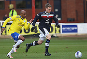 Greenock Morton's Fouad Bachirou chases Dundee's Jim McAlister - Dundee v Greenock Morton, William Hill Scottish Cup 5th Round at Dens Park .. - © David Young - www.davidyoungphoto.co.uk - email: davidyoungphoto@gmail.com