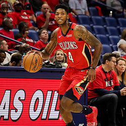 Oct 19, 2018; New Orleans, LA, USA;  New Orleans Pelicans guard Elfrid Payton (4) against the Sacramento Kings during the first half at the Smoothie King Center. The Pelicans defeated the Kings 149-129. Mandatory Credit: Derick E. Hingle-USA TODAY Sports