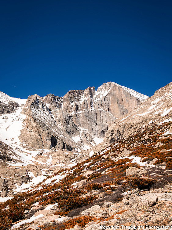 Summer on the Long's Peak/Meeker Massif is a very short season between end of July and beginning of September.  Otherwise, it's permanent winter with fresh snow and freezing winds in play year round.