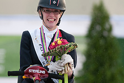 Gold for Sophie Christiansen.  Podium for  Grade II Para-dressage Individual Test at the 2014 World Equestrian Games, Caen, Normandy, France..