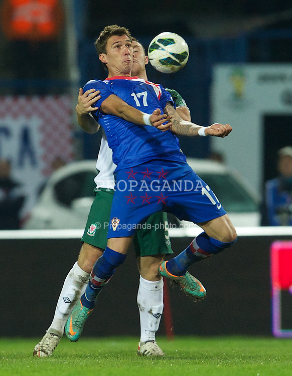 OSIJEK, CROATIA - Tuesday, October 16, 2012: Croatia's Mario Mandzukic in action against Wales during the Brazil 2014 FIFA World Cup Qualifying Group A match at the Stadion Gradski Vrt. (Pic by David Rawcliffe/Propaganda)