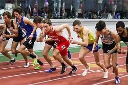 BU Terrier Indoor track meet<br /> Start, Mile heat 2, Boston U, Johnny Kemps