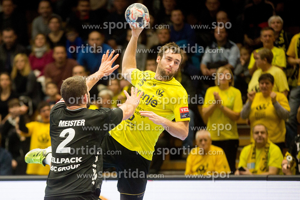 Matic Verdinek of RK Gorenje Velenje during handball match between RK Gorenje Velenje and Kadetten Schaffhausen in VELUX EHF Champions League, on November 25, 2017 in Rdeca Dvorana, Velenje, Slovenia. Photo by Ziga Zupan / Sportida