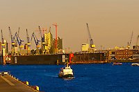 Hamburg's Harbor along the Elbe RIver (the second busiest in Europe), Hamburg, Germany