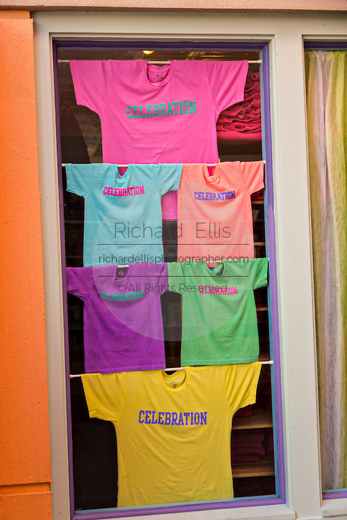 Colorful shirts on sale in the village shopping center in the Disney created master planned community Celebration, Florida.