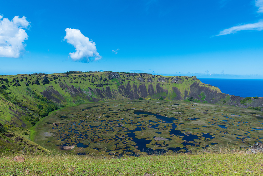 Looking down into the crater of the extinct Rano Kau volcano on Esater Island.