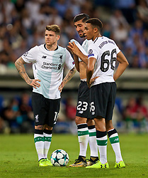 SINSHEIM, GERMANY - Tuesday, August 15, 2017: Liverpool's Trent Alexander-Arnold prepares to take the free-kick to score the first goal during the UEFA Champions League Play-Off 1st Leg match between TSG 1899 Hoffenheim and Liverpool at the Rhein-Neckar-Arena. (Pic by David Rawcliffe/Propaganda)