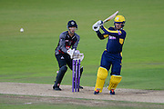 Gareth Andrew of Hampshire batting and Ryan Davies of Somerset during the Royal London One Day Cup match between Hampshire County Cricket Club and Somerset County Cricket Club at the Ageas Bowl, Southampton, United Kingdom on 2 August 2016. Photo by David Vokes.