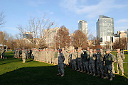 Members of the U.S. Army National Guard assembled at Boston Common to receive instructions after two explosions killed at least two people near the Boston marathon finish on April 15, 2013. The explosions rocked Boylston Street as 27,000 runners competed in the 26.2-mile race.