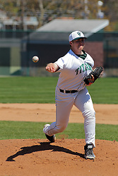 17 April 2016:   Starting pitcher Nick Brune during an NCAA division 3 College Conference of Illinois and Wisconsin (CCIW) Pay in Baseball game during the Conference Championship series between the North Central Cardinals and the Illinois Wesleyan Titans at Jack Horenberger Stadium, Bloomington IL