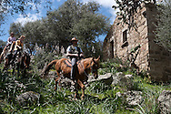 Corsica. France. Horse trek, Horse riding  around decaying Sheepfold in San Pultru, near Sartene, Corsica  France   / Randonnee a cheval pres des bergeries a San Pultru  sud corse.  France
