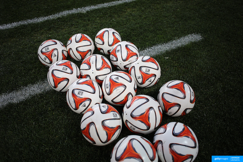 A collection of MSL Brazuca balls on the side of the pitch before warm up at the New York Red Bulls Vs Toronto FC, Major League Soccer regular season match at Red Bull Arena, Harrison, New Jersey. USA. 11th October 2014. Photo Tim Clayton