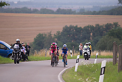 The breakaway approaches the top of the final climb of Stage 5 of the Lotto Thuringen Ladies Tour - a 108.3 km road race, starting and finishing in Greiz on July 17, 2017, in Thuringen, Germany. (Photo by Balint Hamvas/Velofocus.com)