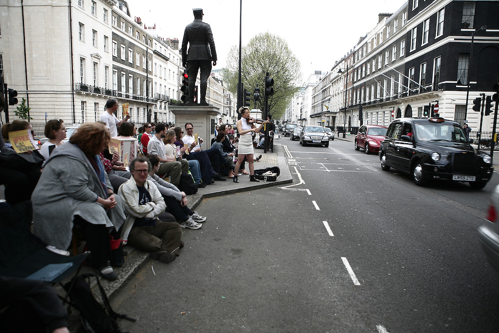 1001 Chairs for Ai Weiwei protest outside Chinese Embassy, London