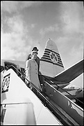 "Deborah Kerr arrives at Dublin Airport on her way to star in a new James Bond film ""Casino Royale"". The film, directed by John Houston, is to be shot at Ardmore Studios.<br /> 23.05.1966"