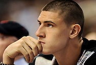 Sep 21, 2013; Phoenix, AZ, USA; Alex Len of the Phoenix Suns watches the Phoenix Mercury and Los Angeles Sparks Game 2 of a WNBA basketball Western Conference semifinal series at US Airways Center. The Sparks defeated the Mercury 82-73. Mandatory Credit: Jennifer Stewart-USA TODAY Sports