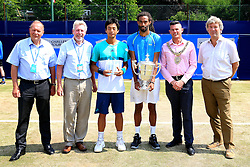 Dustin Brown of Germany (Winner) poses with Yen-Hsun Lu of Chinese Taipei (Runner up) - Mandatory by-line: Matt McNulty/JMP - 05/06/2016 - TENNIS - Northern Tennis Club - Manchester, United Kingdom - AEGON Manchester Trophy