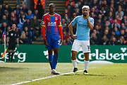 Crystal Palace defender Aaron Wan-Bissaka (29) and Manchester City forward Sergio Aguero (10) during the Premier League match between Crystal Palace and Manchester City at Selhurst Park, London, England on 14 April 2019.