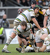 Wycombe, GREAT BRITAIN,  Saints', Lee DICKSON, passes the ball during the Guinness Premiership rugby game, London Wasps vs Northampton Saints, at Adam's Park Stadium, Bucks, England, on Sun 22.02.2009. [Photo, Peter Spurrier/Intersport-images]
