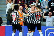 Ayoze Perez (#17) of Newcastle United celebrates Newcastle United's third goal (3-1) with Matt Ritchie (#11) of Newcastle United during the Premier League match between Newcastle United and Southampton at St. James's Park, Newcastle, England on 20 April 2019.