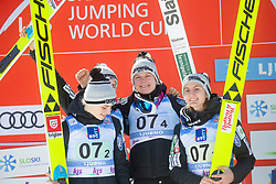 KRIZNAR Nika,  ROGELJ Spela, KOMAR Katra, KLINEC Ema  (SLO) celebrates after Day 1 of FIS Ski Jumping World Cup Ladies Ljubno 2020, on February 22th, 2020 in Ljubno ob Savinji, Ljubno ob Savinji, Slovenia. Photo by Matic Ritonja / Sportida