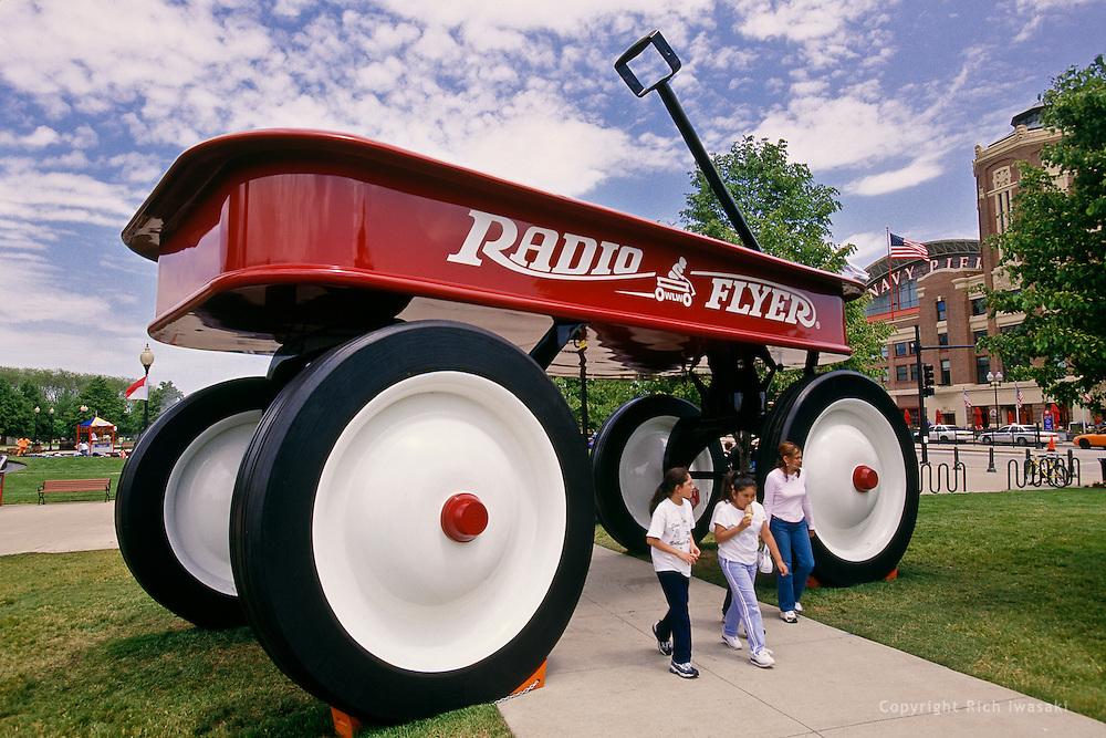 """The World's Largest Wagon"" on display near Navy Pier, Chicago, Illinois"