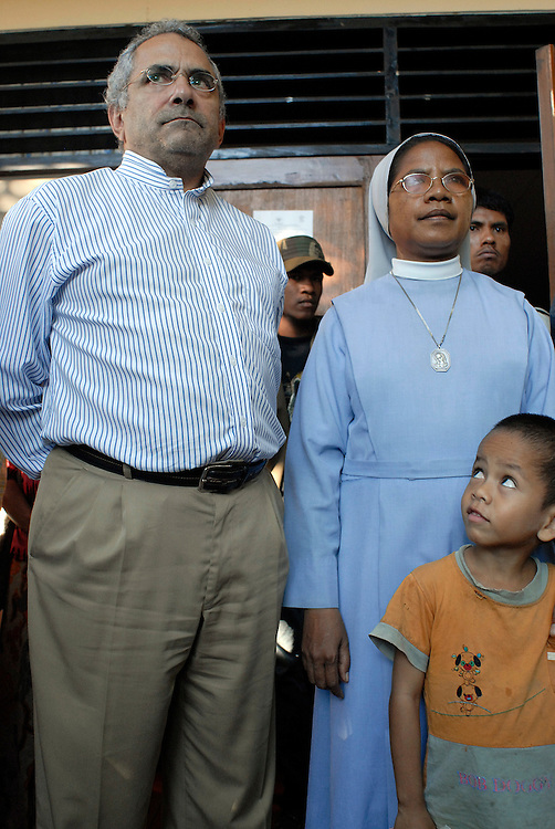 East Timor Foreign Affairs Minister Jose Ramos Horta visits the Canossian Sisters and hundreds of internally displaced people at Balide. Dili East Timor 12 June 2006
