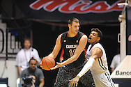 "South Carolina Gamecocks forward Laimonas Chatkevicius (14) is defended by Mississippi Rebels forward Sebastian Saiz (11) at the C.M. ""Tad"" Smith Coliseum in Oxford, Miss. on Saturday, January 10, 2015. (AP Photo/Oxford Eagle, Bruce Newman)"