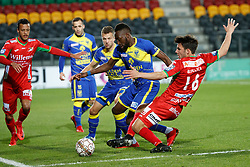 November 28, 2017 - Oostende, BELGIUM - Oostende's Richairo Zivkovic, STVV's Yohan Boli and Oostende's Aleksandar Bjelica fight for the ball during a Croky Cup 1/8 final game between KV Oostende and STVV, in Oostende, Tuesday 28 November 2017. BELGA PHOTO KURT DESPLENTER (Credit Image: © Kurt Desplenter/Belga via ZUMA Press)