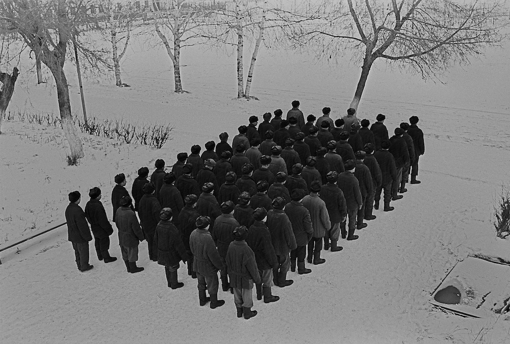The line of the Russian young prisoners stand to go for their dinner at the colony for prisoner's children in Siberian town Leninsk-Kuznetsky, Russia, 25 December 1999.