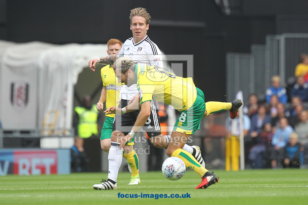 Stefan Johansen of Fulham and Mario Vrancic of Norwich in action during the Sky Bet Championship match at Craven Cottage, London<br /> Picture by Paul Chesterton/Focus Images Ltd +44 7904 640267<br /> 05/08/2017