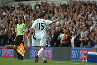 Photo: Tony Oudot.<br /> Tottenham Hotspur v Derby County. The FA Barclays Premiership. 18/08/2007.<br /> two goalscorer Steed Malbranque celebrates his first goal by pointing to the Tottenham bench