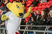 England mascot with young England Lioness' fan at half time during the International Friendly match between England Women and France Women at the Keepmoat Stadium, Doncaster, England on 21 October 2016. Photo by Mark P Doherty.