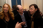 Jerry Hall,  Alain de Botton and Jan Younghusband, Status Anxiety by  Alain de Botton,  book launch. Foreign Press Association, Carlton House Terrace. 2 March 2004. ONE TIME USE ONLY - DO NOT ARCHIVE  © Copyright Photograph by Dafydd Jones 66 Stockwell Park Rd. London SW9 0DA Tel 020 7733 0108 www.dafjones.com