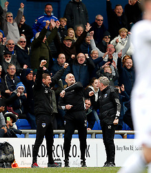 Oldham Athletic manager John Sheridan and his coaching staff celebrate at full time - Mandatory by-line: Matt McNulty/JMP - 15/04/2017 - FOOTBALL - Boundary Park - Oldham, England - Oldham Athletic v Bolton Wanderers - Sky Bet League 1