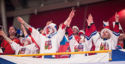 12.05.2013, Globe Arena, Stockholm, SWE, IIHF, Eishockey WM, Kanada vs Tschechische Republik, im Bild Czech Republic fans fan supporter supportrar klack publik crowd, jubel glädje lycka glad happy // during the IIHF Icehockey World Championship Game between Canada and Czech Republic at the Ericsson Globe, Stockholm, Sweden on 2013/05/12. EXPA Pictures © 2013, PhotoCredit: EXPA/ PicAgency Skycam/ Johan Andersson..***** ATTENTION - OUT OF SWE *****
