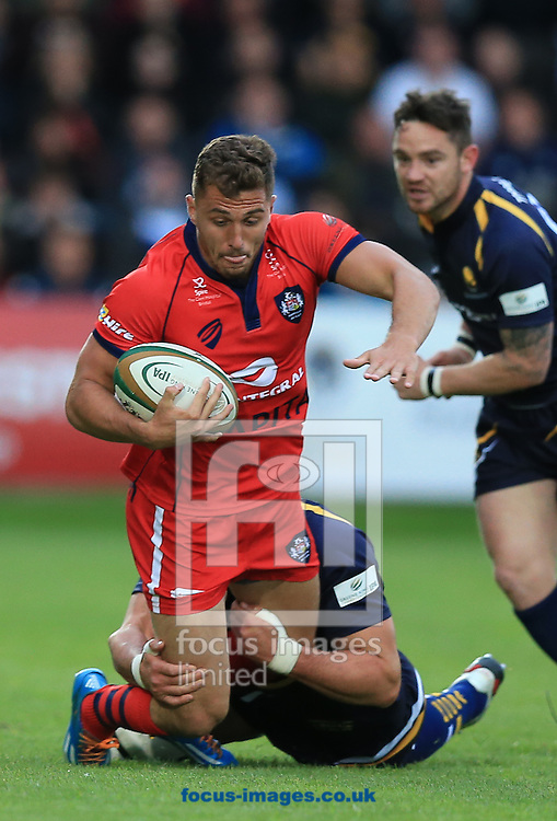 Jack Wallace of Bristol Rugby tackled by Jonathan Thomas of Worcester Warriors during the second leg of the Greene King IPA Championship Final at Sixways Stadium, Worcester<br /> Picture by Michael Whitefoot/Focus Images Ltd 07969 898192<br /> 27/05/2015