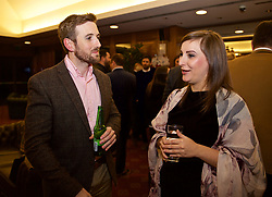 NEWPORT, WALES - Wednesday, December 12, 2018: Aled Lewis and Agata Koziel during the UEFA Certificate of Football Management Graduation Ceremony in the 2010 Clubhouse at the Celtic Manor Resort. (Pic by David Rawcliffe/Propaganda)