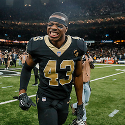Sep 16, 2018; New Orleans, LA, USA; New Orleans Saints safety Marcus Williams (43) celebrates after a win against the Cleveland Browns at the Mercedes-Benz Superdome. The Saints defeated the Browns 21-18. Mandatory Credit: Derick E. Hingle-USA TODAY Sports