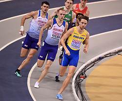 Sweden's Andreas Kramer (right) leads Great Britain's Jamie Webb and Guy Learmonth in the second semi final of the Men's 800m during day two of the European Indoor Athletics Championships at the Emirates Arena, Glasgow.