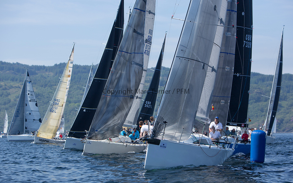 Silvers Marine Scottish Series 2017<br /> Tarbert Loch Fyne - Sailing<br /> <br /> RC35 Fleet Start with GBR7667R, Now or Never 3, Neil Sandford, Fairlie YC, Mat 1010
