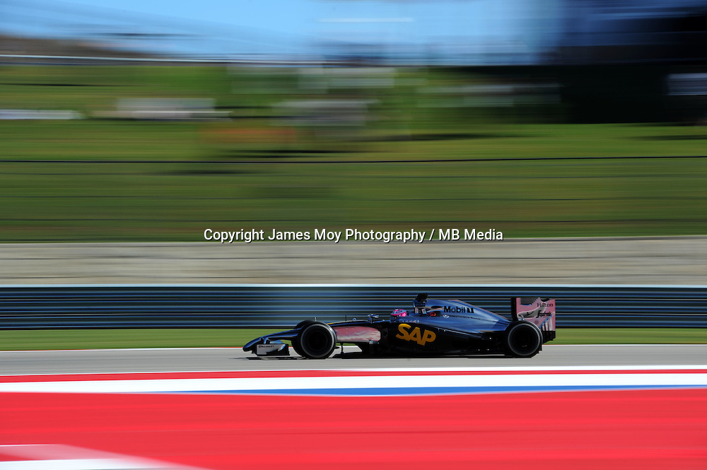 Jenson Button (GBR) McLaren MP4-29.<br /> United States Grand Prix, Friday 31st October 2014. Circuit of the Americas, Austin, Texas, USA.