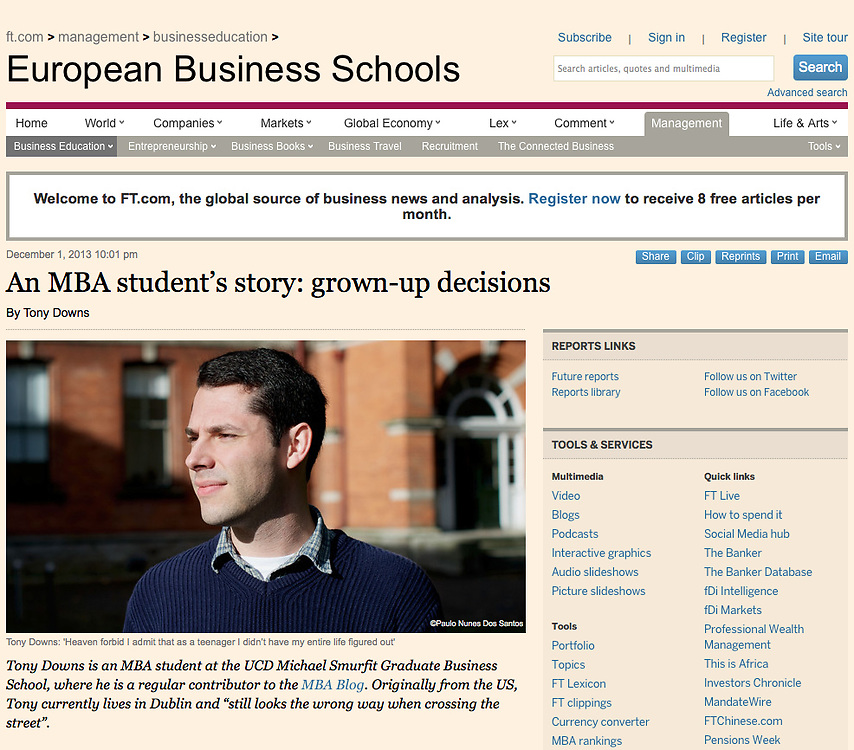 """Screengrab of """"MB Student in Ireland"""" published in The Financial Times"""